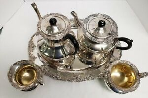 Antique Grapes Silverplate Copper Hvy Coffee Tea Svc Old English Huntington Bch
