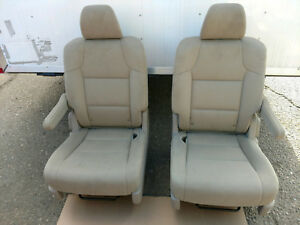 2015 2016 2017 Honda Odyssey Second Row Bucket Seats Tan Cloth Pair