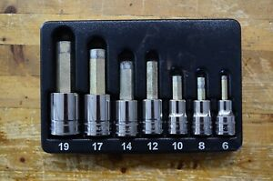 Snap On 307esamy 7 Pc 1 2 Drive Metric Hex Bit Standard Socket Driver Set