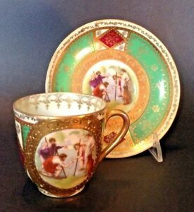 Royal Vienna Demitasse Teacup And Saucer Green Red And Gold Blue Beehive Tm