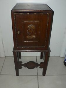 Antique Vintage Smoking Stand Table Arts Crafts 1800 S Copper Lined Ornate Carve