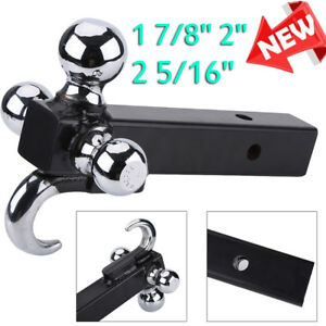 Triple Tri 3 Ball Trailer Hitch W Hook Receiver Mount 1 7 8 2 2 5 16 Towing