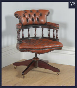 Antique English Victorian Style Mahogany Leather Captains Office Desk Armchair