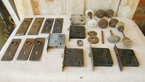 Lot Of Vintage Door Knobs Back Plates Lock Box Misc Reclaimed Salvage Hardware