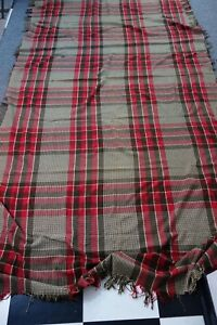Huge Victorian Wool Plaid Blanket 56x116 Barn Red Cream Brown Double Length Sale