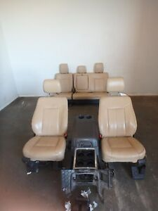 2011 2016 Ford F250 F350 Superduty Front Rear Seat Set Console Tan Lather Power
