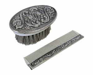 925 Sterling Silver Boy S Comb Brush Set With Blue Felt Gift Box