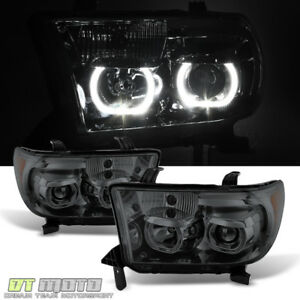 For Smoked 2007 2013 Toyota Tundra 08 17 Sequoia Led Halo Headlights Left Right
