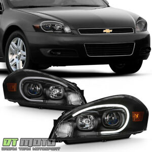 Blk 2006 2013 Chevy Impala 14 16 Limited Led Tube Projector Headlights Headlamps