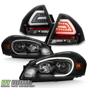 Black 2006 2013 Chevy Impala Led Tube Projector Headlights Led Tail Lights Lamps