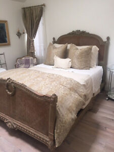 Rare A Hugnet Paris Antique Queen French Wood And Cane Bed Frame