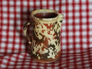 Antique Red Ware Pitcher Yellow Spatter Primitive Vintage French Country Jug
