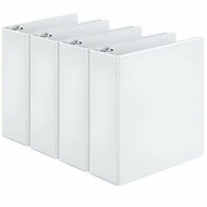 New Cardinal Round Ring View Binder 3 Inch White Pack Of 4 Binders 00430