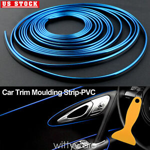 Blue 16ft Car Interior Door Gap Edge Line Insert Molding Trim Strip Accessory