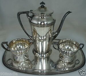 Antique Silver Plate Tea Coffee Set Pot Sugar Bowl Creamer Appolo Rice S Sons