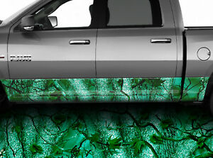 Rocker Panel Graphic Decal Truck Wrap Forest Camo Teal Forest Camouflage