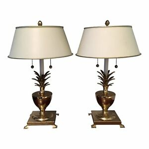 Hollywood Regency Brass Pineapple Urn Lamps A Pair