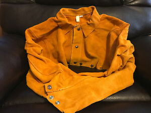 Oki Comfort Line Leather Welding Cape Sleeve Size Xl Weld Cutting Torch Vest