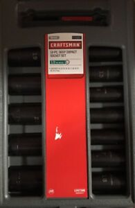 Craftsman Metric 12 Piece 1 2 Inch Drive 6 Point Deep Impact Socket Set New