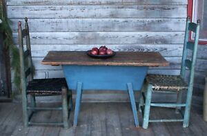 1850 Primitive Dough Box On Stand With Lid Blue Paint Square Nails Canted Patina