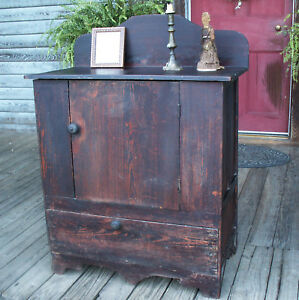 1850 Eastern Nc Cupboard Chest Commode Square Nails Southern Heart Pine