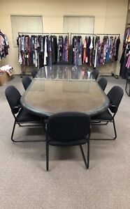 Executive Wooden And Glass Top Conference Table 10 Chairs For Sale 1000 Obo