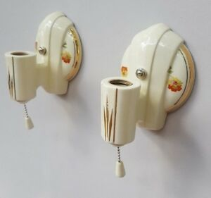 Pair Art Deco Porcelier Porcelain Sconces Vintage New Wire Good Pull Switches