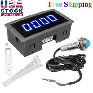 4digital Blue Led Tachometer Rpm Speed Motor Car Meter Proximity Switch Senso Yt