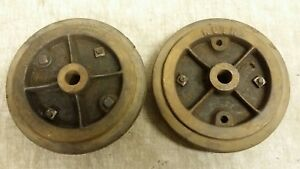 2 Antique Ruth Size 8 lansing Cast Iron Industrial Factory Cart Caster Wheels