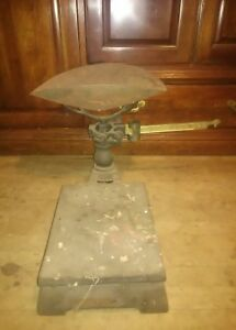 Antique Fairbanks Morse Cast Iron Platform Grocery Store Countertop Scale 250lbs