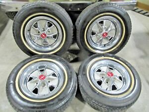 14 Ford Styled Steel Wheels Pony Caps Whitewall Radial Tires Mustang