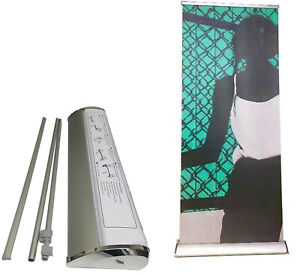 33 5x80 In deluxe Wide Base Single screen Retractable Roll Up Banner Stand