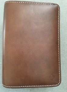 Franklin Covey Compact Brown Full Grain Leather Full double Zip Binder Planner