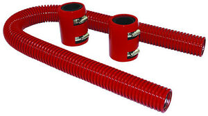 24 Red Stainless Flexible Radiator Hose Kit W Billet Clamp Covers Chevy Ford