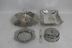 5 X Vintage Silver Plated Tableware Basket Cake Stand Butter Dish