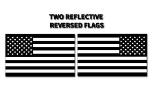 2x Reflective Reversed Black American Flag Made In Usa Decal 3m Stickers Truck