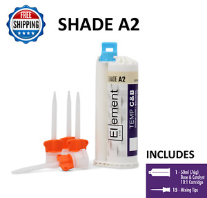 Element Temporary Crown And Bridge Material Cartridge 76g W 15 Tips Shade A2