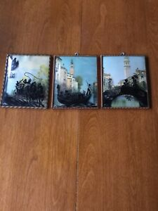 Lot Of 3 Vintage Reverse Painted Silhouette Pictures W Convex Bubble Glass
