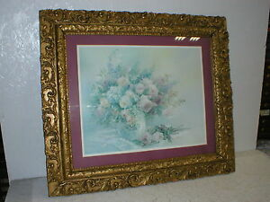 Vintage Ornate Gold Wood Gesso Picture Frame Lena Liu Rose Fairies Lithograph