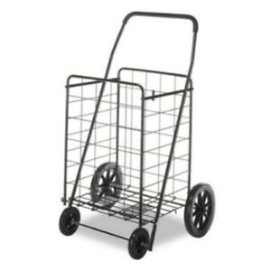 Heavy Duty Steel Grocery Utility Shopping Laundry Storage Cart W Wheels Black
