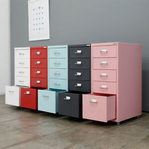 5 Drawers 4 Casters Metal Drawer Filing Cabinet Detachable Mobile File Cabinets