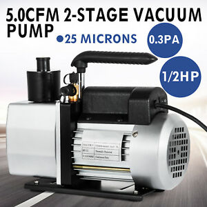 5cfm Vacuum Pump 2 stage 1 2 Hp Rotary Wine Degassing Food Processing 1 4 flare