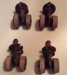Antique Original Metal And Wood Double Wheel Furniture Casters Matching Set Of 4