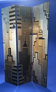 Art Deco Revival Cityscape Carved Wood Screen Room Divider Laquer Gold Silver