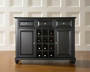 Cambridge Buffet Server Sideboard Cabinet With Wine Storage Black