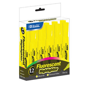 New 401753 Yellow Desk Style Fluorescent Highlighters 12 Box 12 pack