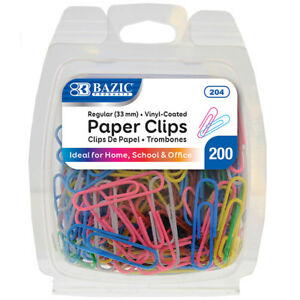New 401673 No 1 Regular 33mm Color Paper Clips 200 Pack 24 pack Office