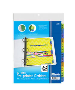 New 401884 3 Ring Binder Dividers W 12 Preprinted A z Tab 24 pack