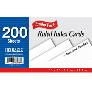 New 402169 200 Ct 3 Inch X 5 Inch Ruled White Index Card 36 pack Writing