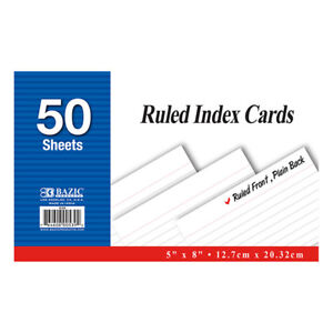 New 402198 50 Ct 5 Inch X 8 Inch Ruled White Index Card 36 pack Writing